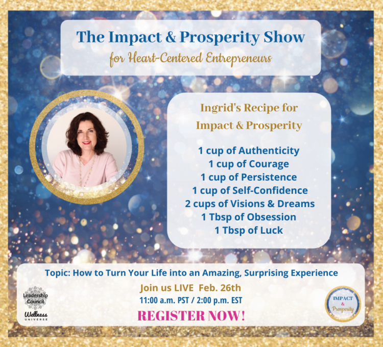 Join us LIVE tomorrow, Wed. Feb. 26th at 2:00 p.m. EST on The Impact & Prosperity Show with our